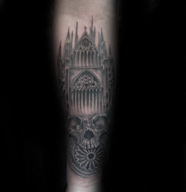 Vintage Church Building With Skull Design Mens Forearm Tattoo