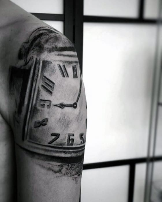Vintage Clock Unique Arm And Shoulder Tattoo For Men