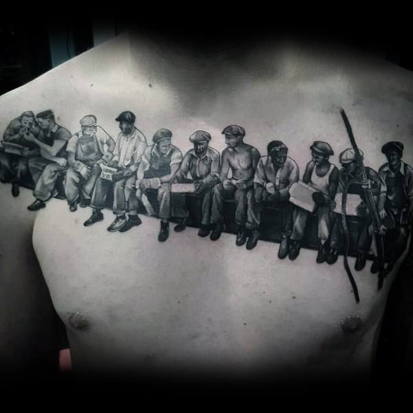 Vintage Construction Workers Coolest Tattoos For Men On Upper Chest