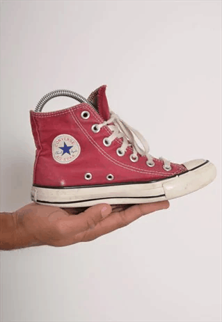 Vintage Red Converse High Top Sneaker Trainers Red