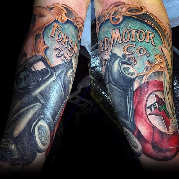 Vintage Ford Motor Co Mens Truck Tattoos