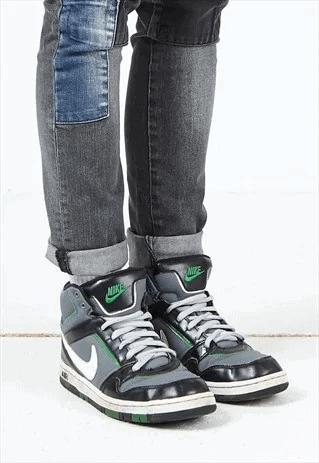 vintage grey black green nike air hi-tops trainers