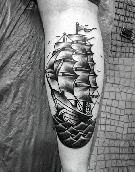 Vintage Guys Leg Calf Tattoo Ideas
