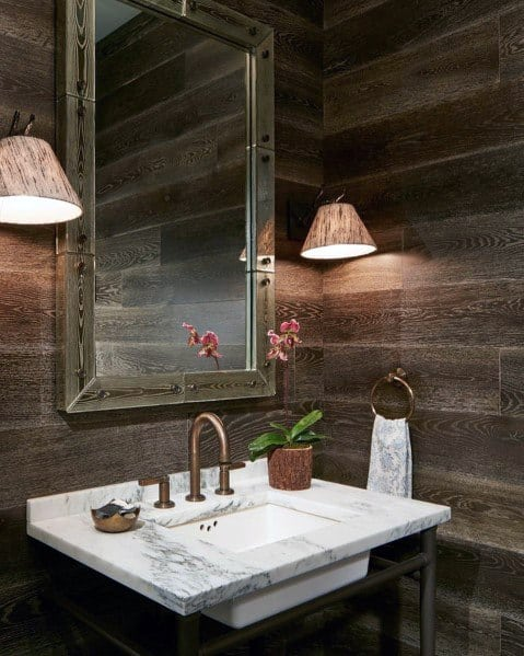 Vintage Half Bath Wood Wall Interior Design