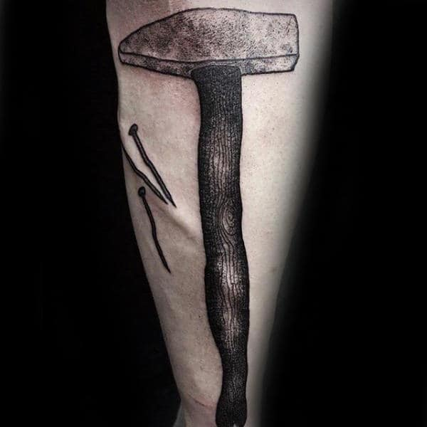 Vintage Hammer And Nails Tattoo For Men On Forearm