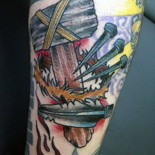 Vintage Hammer With Nails And Arrow Mens Old School Arm Tattoo