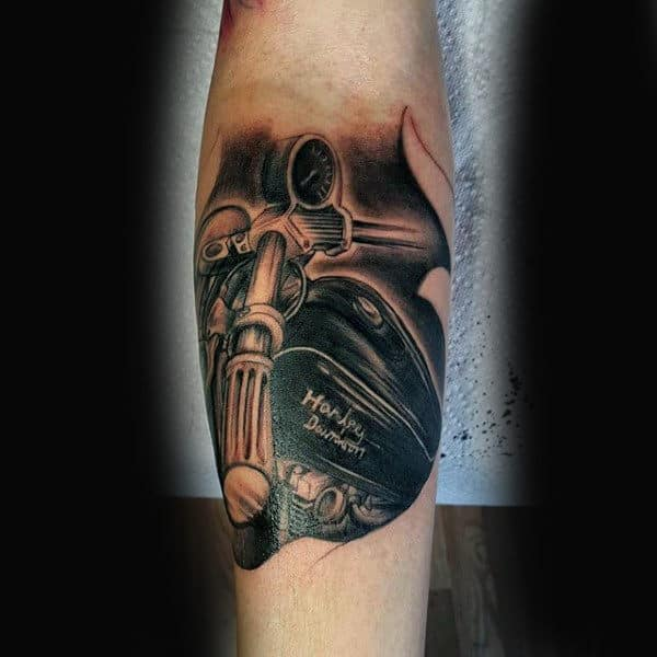 Vintage Harley Davidson Biker Mens Leg Tattoo