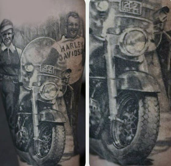 Vintage Harley Davidson Motorcycle Riders Arm Tattoos For Guys