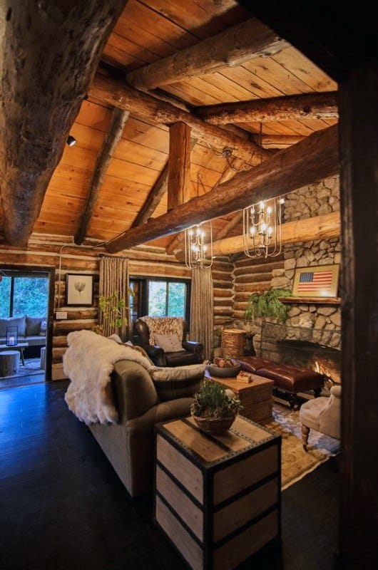 top 60 best log cabin interior design ideas mountain retreat homes. Black Bedroom Furniture Sets. Home Design Ideas