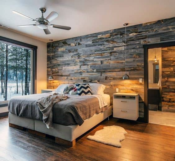 Vintage Look Bedroom Rustic Wood Wall Design Ideas