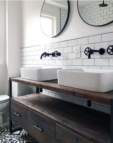 Vintage Look Master Bathroom Backsplash With White Subway Tile And Circle Mirrors