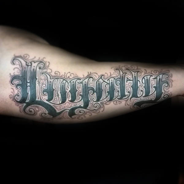 Vintage Loyalty Mens Lettering Arm Tattoos
