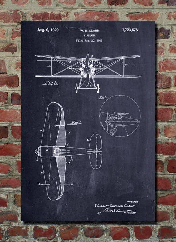Vintage Man Cave Decor Airplane Blueprint Wall Art