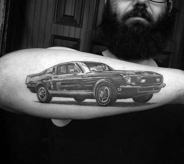 Vintage Muscle Car Guys Mustang Coupe Tattoo Design On Outer Forearm