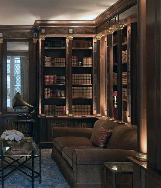 Vintage Ornate Wood Designs Floor To Ceiling Bookshelves