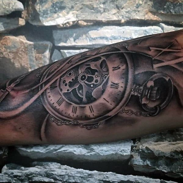 Vintage Pocket Watch Tattoo On Forearms For Males