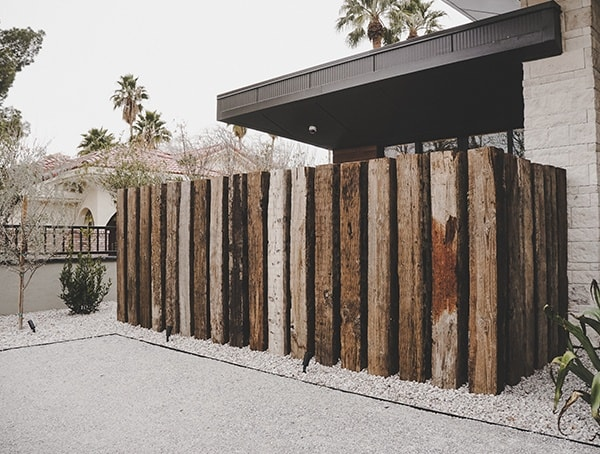 Vintage Railroad Wood Beam Fence New American Remodel 2019 Las Vegas