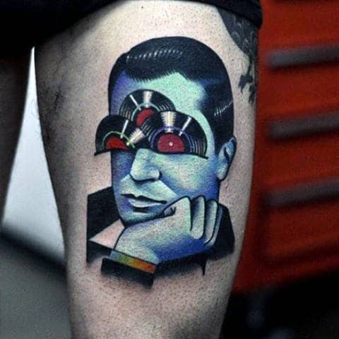 Vintage Records With Male Portrait Unusual Thigh Tattoos For Men