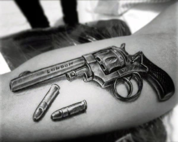 Vintage Revolver Bullet Tattoos For Men On Bicep