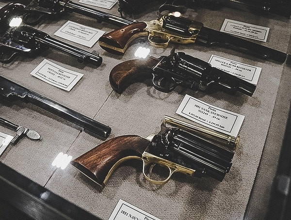 Vintage Revovler Collection In Display Case Shot Show 2019