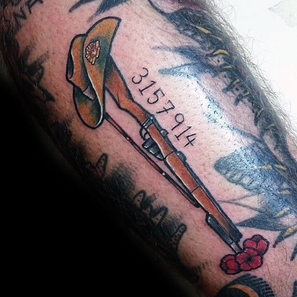 Vintage Rifle With Hat And Flowers Male Filler Tattoos