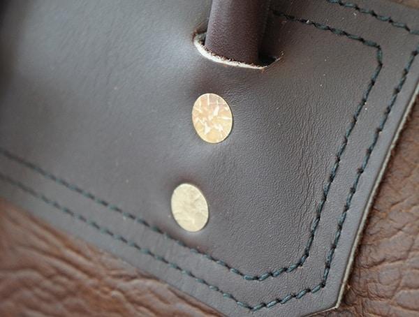 Vintage Rivet Details Duluth Pack Bison Leather Sportsman Duffel With Brown Trim