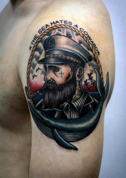 Vintage Sailor Male Tattoo On Upper Arm