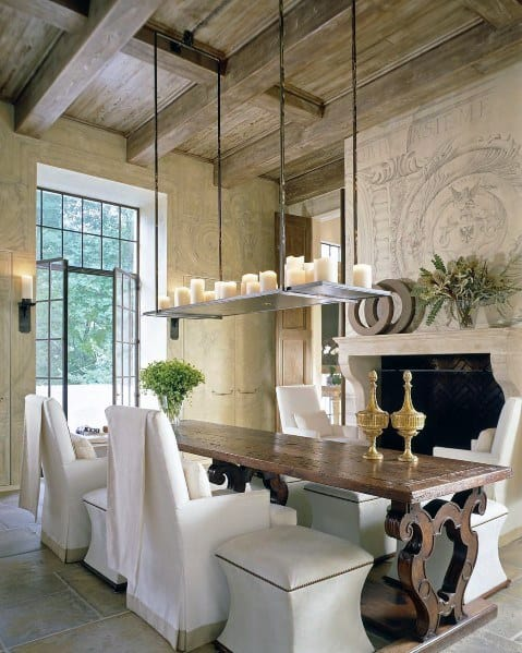 Vintage Salvaged Barn Wood Dining Room Cool Coffered Ceiling