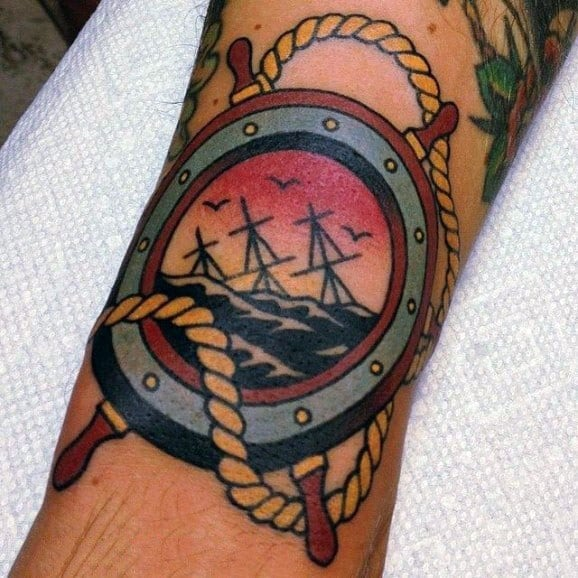 Vintage Ship Wheel Tattoos For Gentlemen