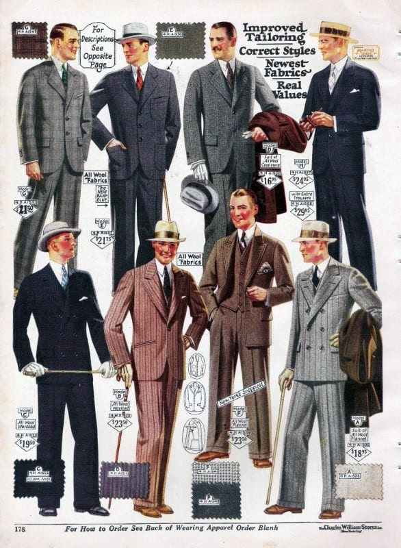 Vintage Shopping Catalog Mens 1920s Suit Fashion
