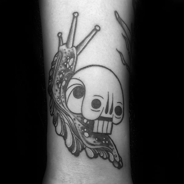 Vintage Skull Snail Tattoo Design On Man
