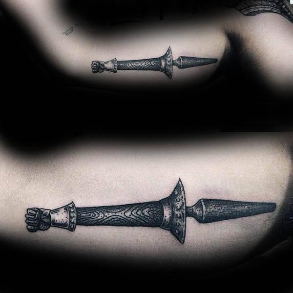 Vintage Spear Mens Inner Arm Tattoo