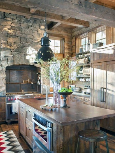 Superbe Vintage Stone Wall Fireplace With Wood Cabinets Rustic Kitchen Ideas