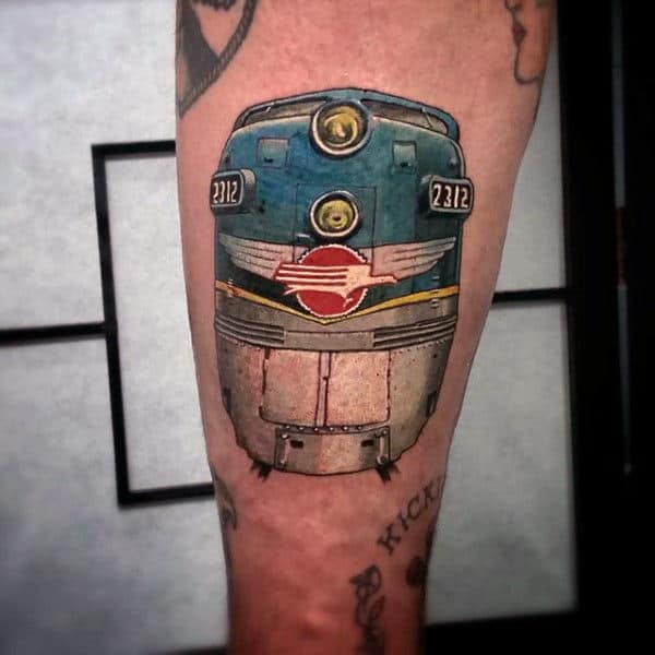 Vintage Style Train Tattoo For Men In Color