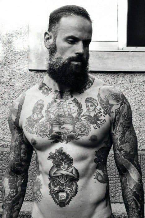 Vintage Tattoo Design On Man