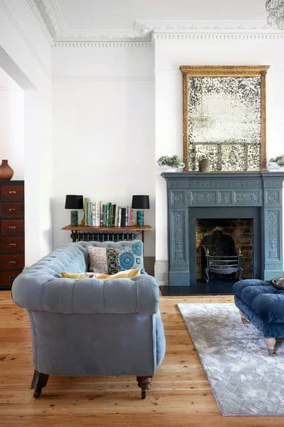Vintage Teal Blue Painted Fireplace Ideas