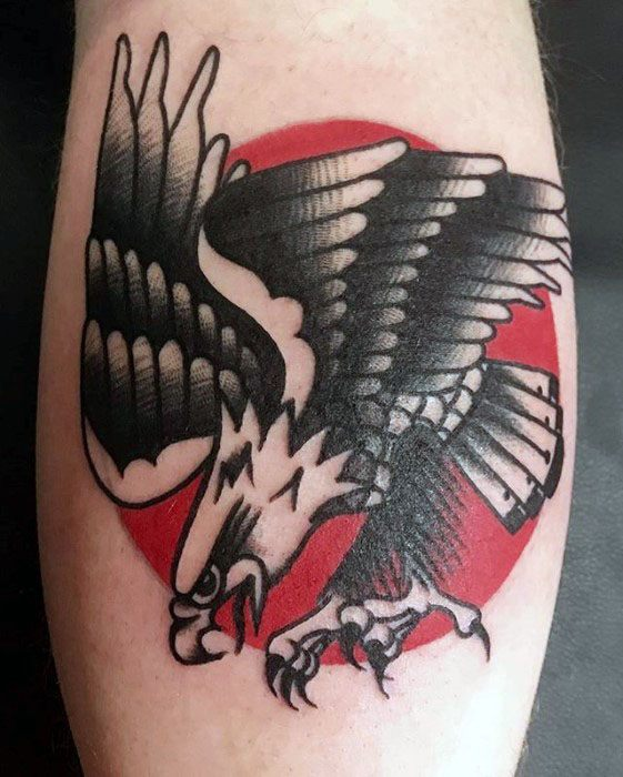 Vintage Traditional Eagle Red Sun Tattoos Guys