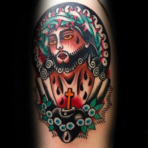 Vintage Traditional Jesus Guys Arm Tattoo