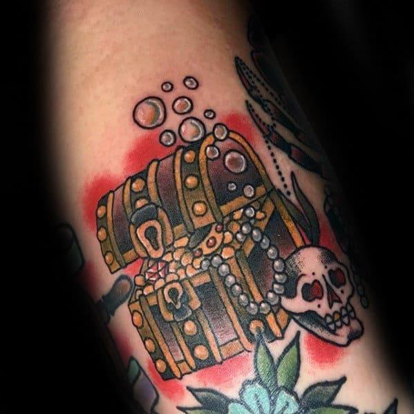 Vintage Treasure Chest Guys Small Arm Tattoos