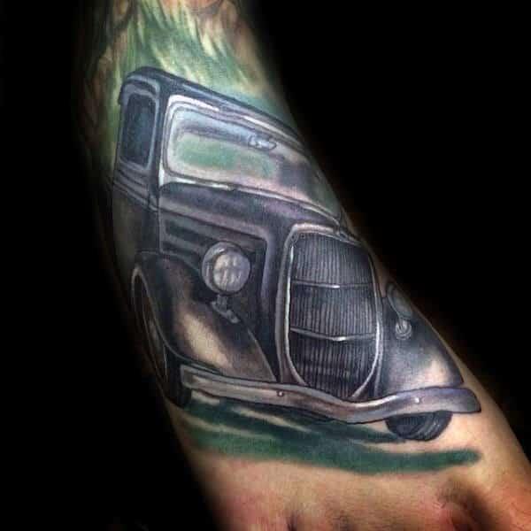 Vintage Truck Guys Foot Tattoos