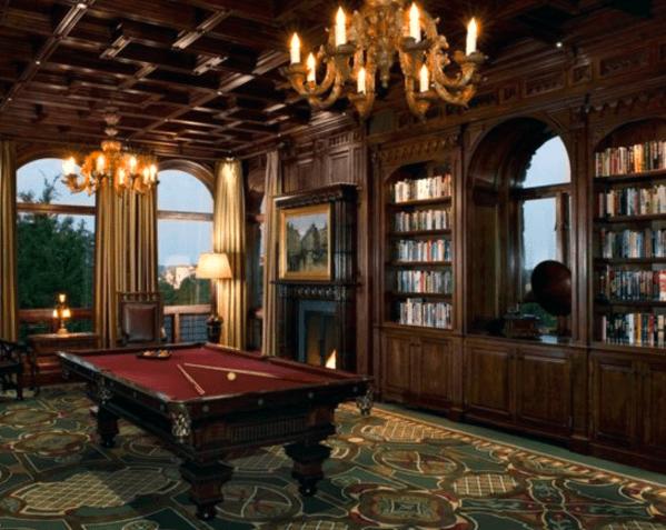 Vintage Wood Bookcases Billiards Room Ideas