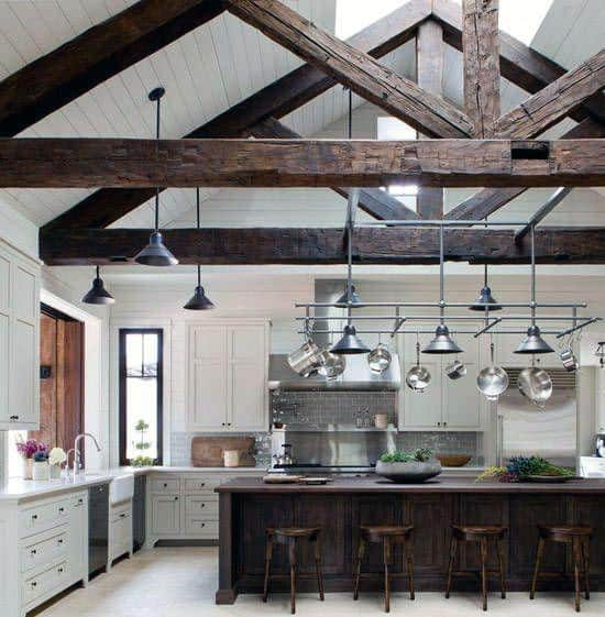 Vintage Wood Rafters With Skylights Kitchen Ceiling Ideas