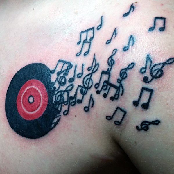 Vinyl Record Guys Tattoo Designs With Music Notes On Chest