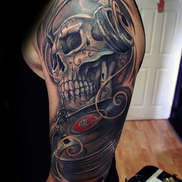 Vinyl Record Guys Tattoos Half Sleeve With Day Of The Dead Skull Design