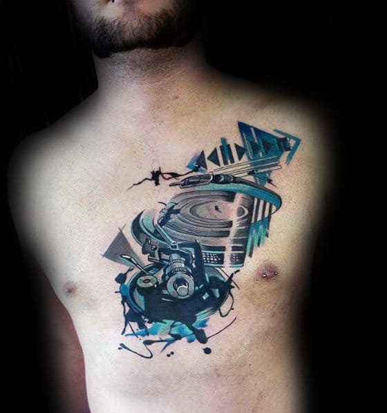 Vinyl Record Male Tattoo Designs Abstract Watercolor Chest