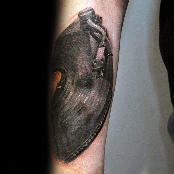 Vinyl Record Male Tattoos Forearm