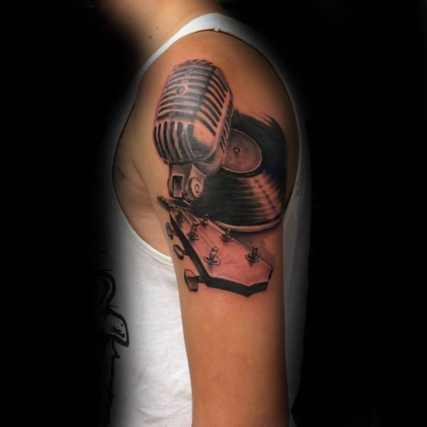 Vinyl Record Tattoo Design Ideas For Males Upper Arm