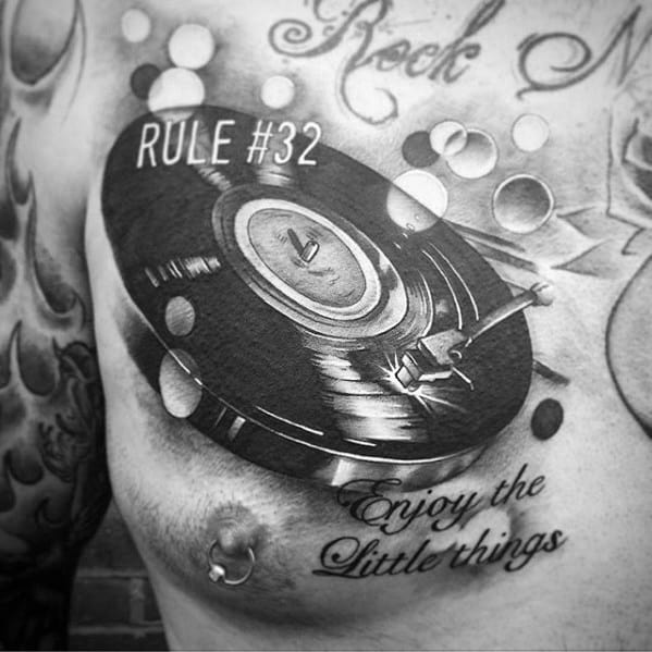Vinyl Record Tattoo Designs For Guys Chest