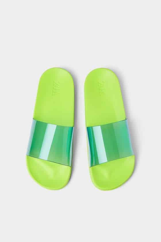 vinyl slide sandals  in fluorescent colors