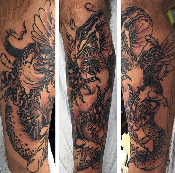 Violence War Lizard Tattoo Mens Legs